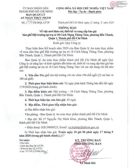 Thông báo về việc mời khảo sát, thiết kế và cung cấp báo giá bàn ghế Hội trường tại trụ sở 18 Cách Mạng Tháng Tám, phường Bến Thành, Quận 1, Thành phố Hồ Chí Minh