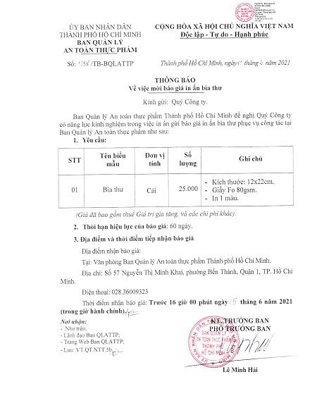 Thông báo về việc mời báo giá in ấn bìa thư